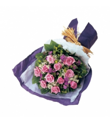 12 Pink Roses with Greenery Bouquet Send to Cebu Philippines