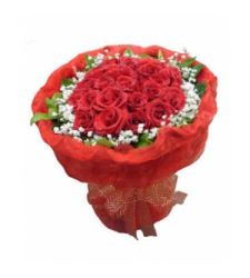 24 Red Roses with Greenery Bouquet Delivery to Cebu Philippines