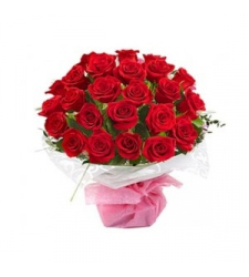 24 Red Roses in White Bouquet Delivery to Cebu Philippines