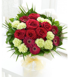 9 Green Carnations, 6 Kunming Red Roses and 5 Red Gerberas Online Order to Cebu Philippines