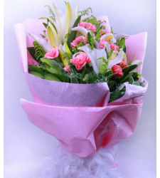 11 Pink Carnations & 1 White Perfume lily Online Order to Cebu Philippines
