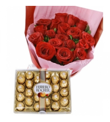 12 Red Roses Bouquet with 24 pcs Ferrero Chocolate  Online Order to Cebu Philippines