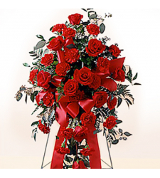 Red Carnations and Roses Standing Spray