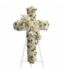 Send All-White Cross Standing Spray To Cebu