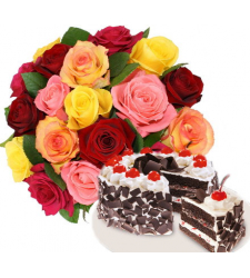 12 Mixed Roses with Black Forest Cake to Cebu