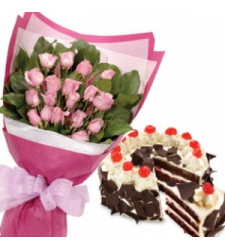 12 Pink Roses w/ Black Forest Cake by Red Ribbon to Cebu