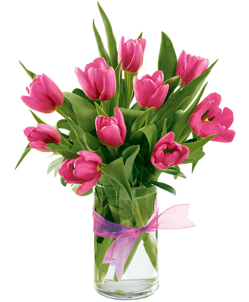 10 Pcs Pink Tulips In A Vase To Cebu Philippines
