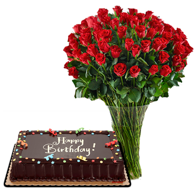 Send 50 Red Roses With Chocolate Cake To Cebu Philippines