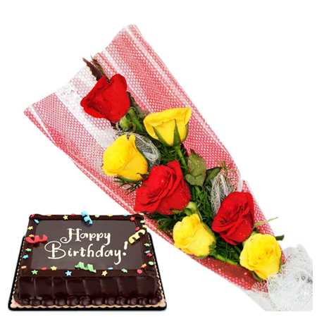 6 Red And Yellow Roses With Ribbon Chocolate Cake To Cebu