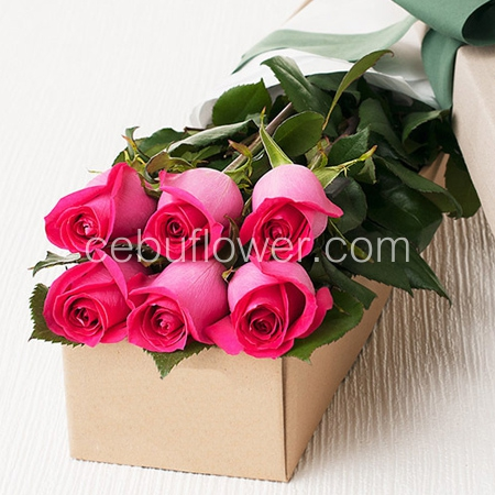 6 Pink Roses In Box