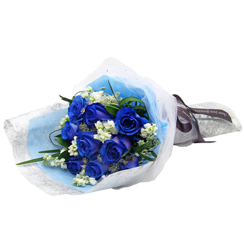 Delivery 12 Fresh Blue Roses Arrangement To Cebu Philippines