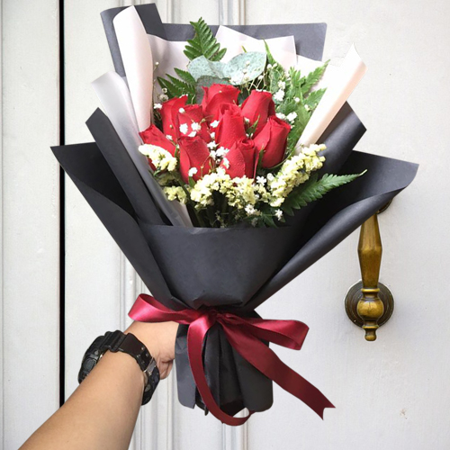 Send 9 Stems Red Color Roses In Bouquet To Cebu Only
