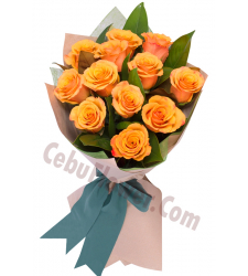 12 orange roses with greenery bouquet to cebu