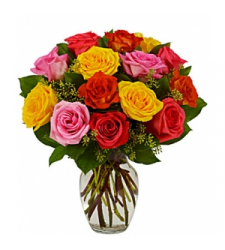 12 assorted roses vase order to cebu