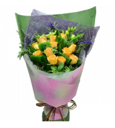 12 Yellow Color Roses Bouquet  Online Order to Cebu Philippines