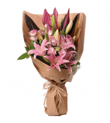 3 stem pink lilies bunched in a bouquet to cebu