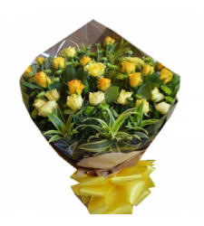 24 yellow and orange roses bouquet delivery to cebu