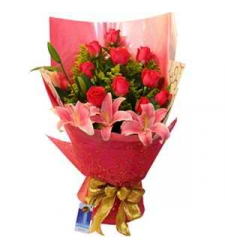 12 Red Roses with 3 Lily Bouquet Send to Cebu