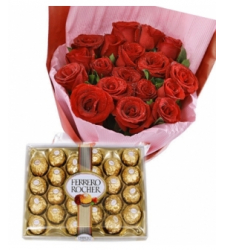 12 Red Roses with 24 pcs Ferrero Chocolate Box