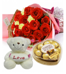 12 Red Roses & Yellow Carnation Bouquet,Pink Bear with Ferrero Box Delivery to Cebu Philippines
