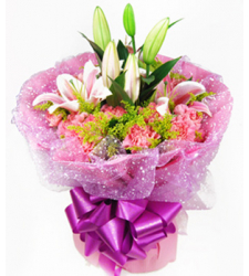 Pink Carnations and Pink lilies Online Order to Cebu Philippines