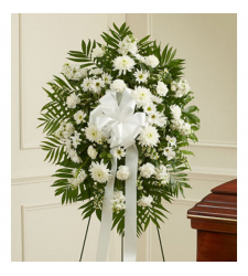 Deepest Sympathies White Standing Spray Online Order to Cebu Philippines