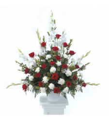 Send Red and White Tribute Arrangement To Cebu