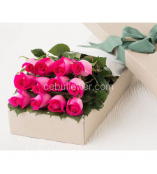 send 12 pink roses in box to philippines