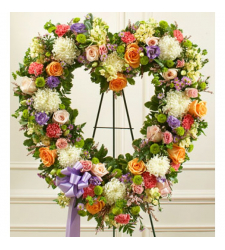 Send Softly Colored Heart Wreath To Cebu