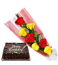 6 red and yellow roses with red ribbon chocolate cake