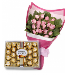 24 Pink Roses Bouquet & 24 pcs Ferrero Chocolate Delivery to Cebu Philippines