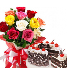 12 mixed roses and chocolate trote cake to cebu
