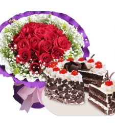 12 red roses with black forest cake to cebu