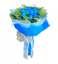 send 12 blue roses in bouquet to cebu