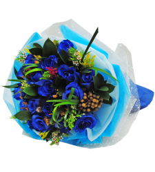 send 12 blue rose hand tied bouquet to cebu