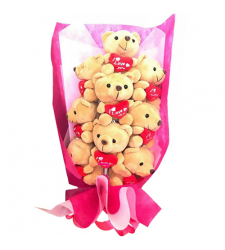 10pcs Mini Teddy Bear in Bouquet