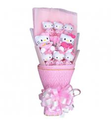8 pcs Cute mini Hello Kitty in a Beautiful Bouquet Arrangement