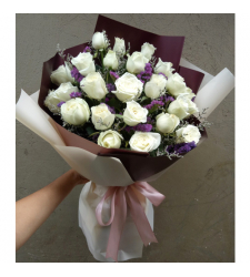 send 2 dozen of white roses in bouquet to cebu