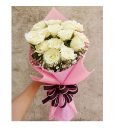 send 14 pcs. white color roses bouquet to cebu