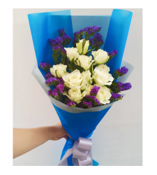 send a dozen of white roses in bouquet to cebu