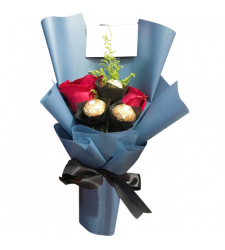 send red color roses with ferrero in bouquet to cebu