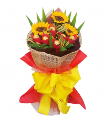 send 3 pcs. sunflower with 6 pcs. ferrero in bouquet to cebu