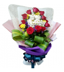 send dozen of roses with 6 pcs mini bear in bouquet to cebu