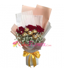 send 3 red roses with chocolate in bouquet to cebu