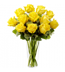 send 12 roses of yellow color in vase to cebu