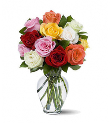12 pcs mixed roses vase to cebu