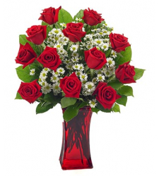 One Dozen Red Roses & seasonal Flower in Vase