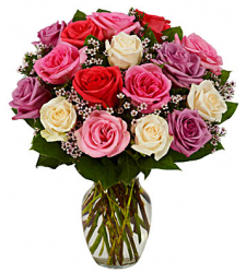 One Dozen Mixed Roses in Vase