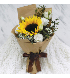 Single Sunflower with 6 White Roses Bouquet