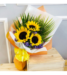 3 Pcs. Fresh Sunflower in Bouquet